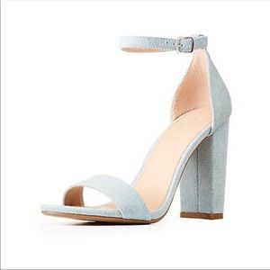 Denim Ankle Strap Heels